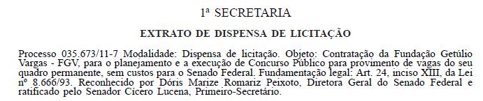 Extrato do contrato entre o Senado e a FGV