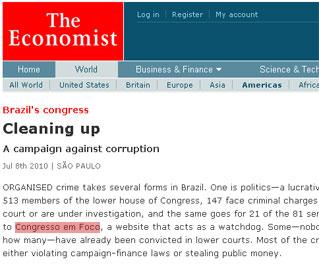 """A reportagem classifica o site como """"watchdog"""", ou seja, um cão de guarda que vem colaborando no combate à corrupção"""